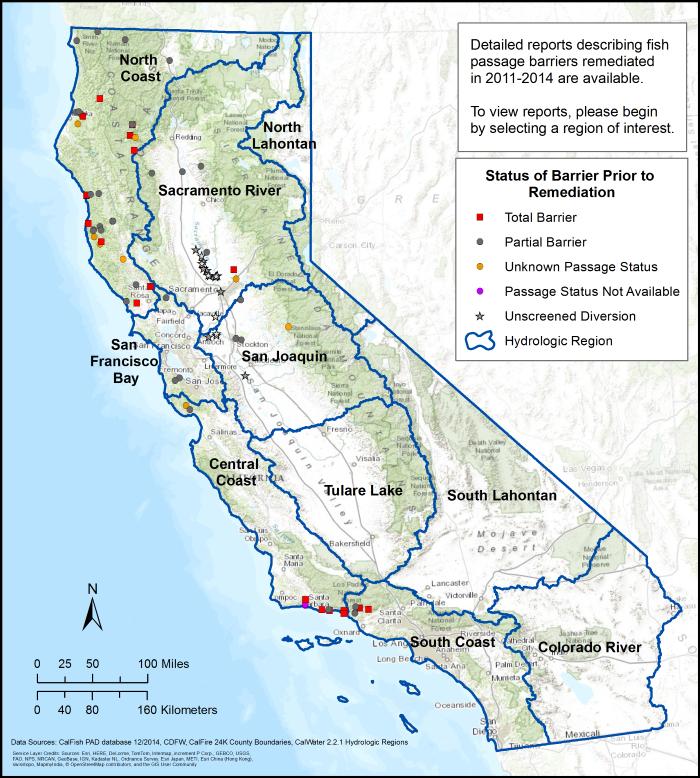 Calfish Programs Data Habitat And Barriers California Fish