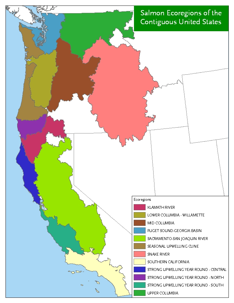 CalFish Fisheries Management Salmon Strongholds - Salmon location map us